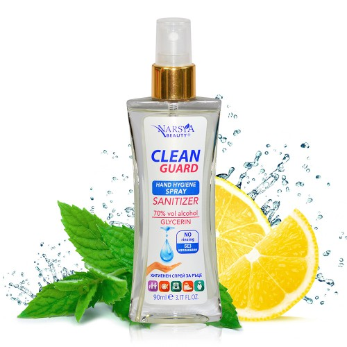 Clean Guard Hand Hygiene Spray Sanitizer 70% alcohol with Mint & Lemon 90 ml
