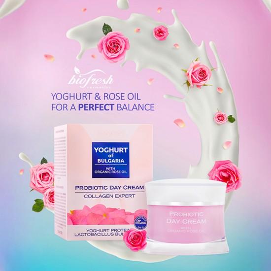 Probiotic Day cream Collagen expert Yoghurt of Bulgaria with Organic Rose Oil