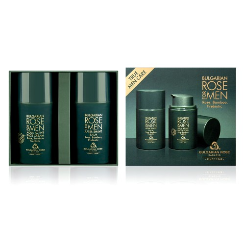 Gift set Bulgarian Rose for Men - Aqua Active Face Cream & After Shave Balm