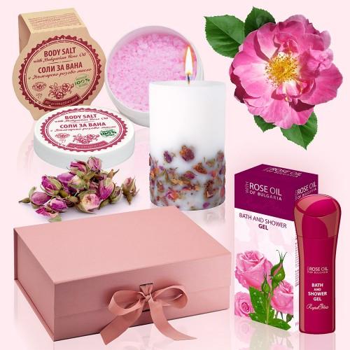 Rose Bath - Luxury Gift Box with Bath Salts, Candle, Bath & Shower Gel