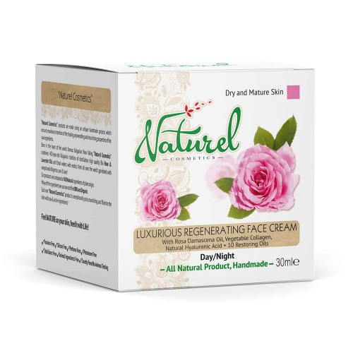 Luxurious Regenerating cream Naturel with Rose oil and Collagen 100% Natural