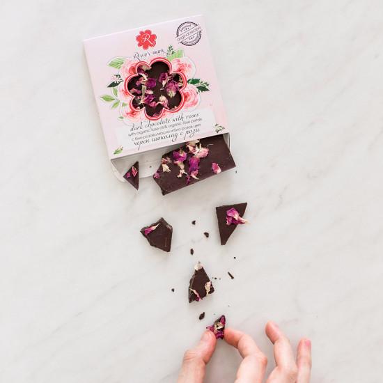 Organic Dark Chocolate with Rose petals Rosey's Mark
