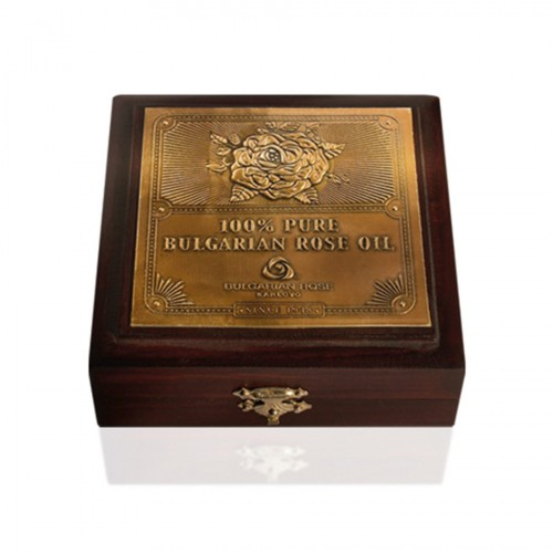 Luxury 100% Pure Bulgarian Rose oil (otto) 10 gr metal container in wooden box
