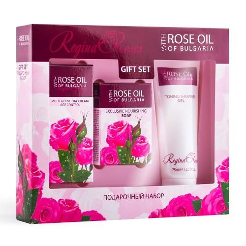 Travel Gift set Rose Oil of Bulgaria - Day cream, Nourishing Soap & Shower gel