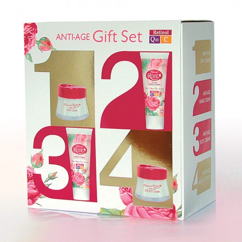 Anti-age Gift set Natural Rose with Day and Night cream, Hand and Foot cream