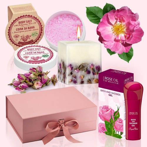 Rose Bath - Luxury Gift Box with Bath Salts, Candle, Bath & Shower Gel