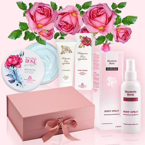 Rose Body Care - Luxury Gift Box with Body Butter, Hand Cream & Body Spray