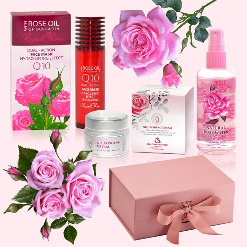 Rose Facial Set - Luxury Gift Box with Face Mask, Rose Water & Face Cream