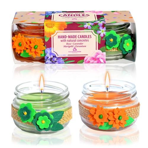 Handmade Marigold & Geranium Candles with Natural Concretes