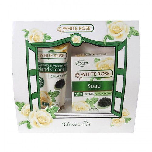 White Rose Unisex Gift set with Hand cream and Soap