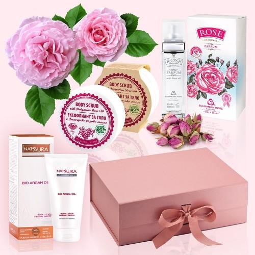 Rose Parfum - Luxury Gift Box with Rose Parfum, Body Lotion & Body Scrub