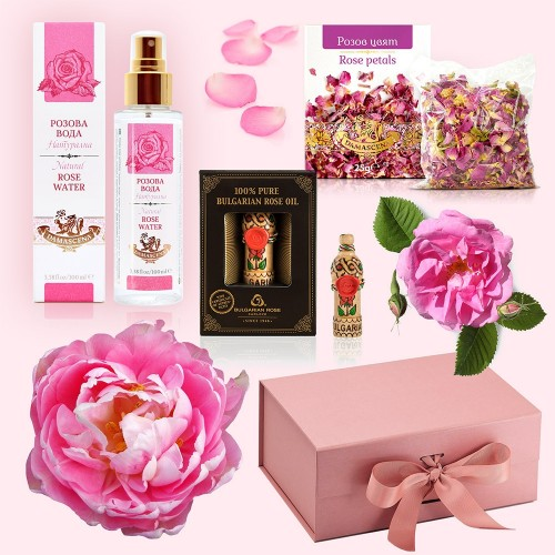 Rose Otto Set - Luxury Gift Box with Rose Water, Rose Oil & Rose Petals